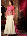 Miraculous Resham Work Pink And White Faux Georgette Designer Floor Length Suit
