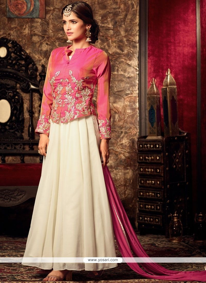 Buy miraculous resham work pink and white faux georgette for Floor length suits