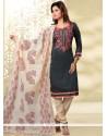 Best Chanderi Grey Lace Work Churidar Designer Suit