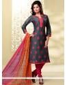 Prodigious Grey Embroidered Work Chanderi Churidar Designer Suit