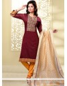 Immaculate Chanderi Maroon And Mustard Lace Work Churidar Designer Suit