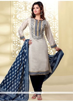 Transcendent Beige And Blue Embroidered Work Churidar Designer Suit