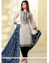 Transcendent Beige And Blue Embroidered Work Churidar Designer Suit