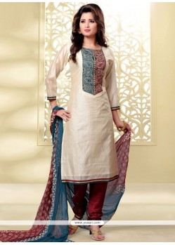 Flawless Lace Work Chanderi Beige And Maroon Churidar Designer Suit