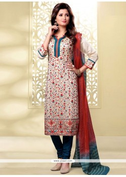 Beckoning Beige And Teal Lace Work Chanderi Churidar Designer Suit