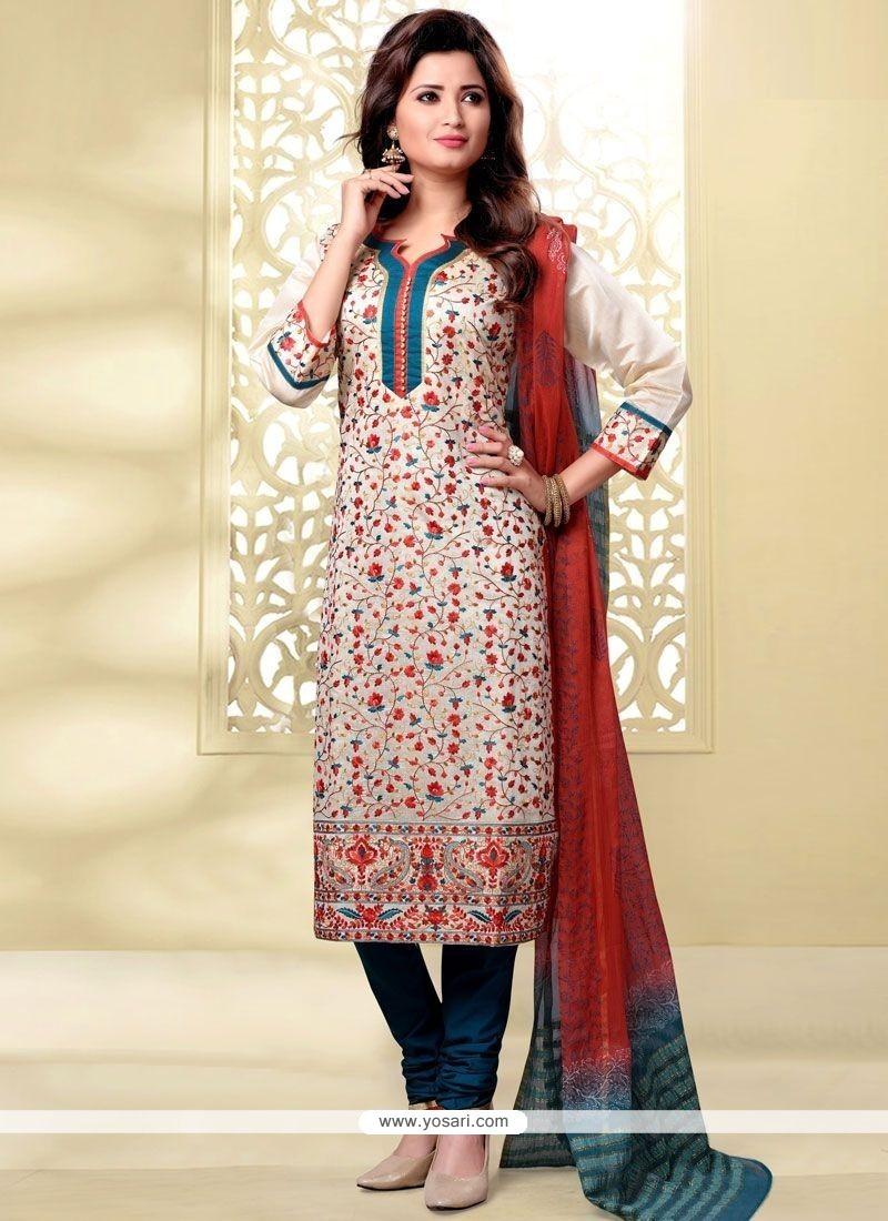 Beckoning Beige And Teal Lace Work Chanderi Churidar Designer Suit