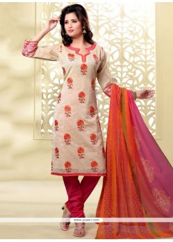 Masterly Chanderi Lace Work Churidar Designer Suit