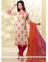 Masterly Chanderi Lace Work Churidar Designer Suit