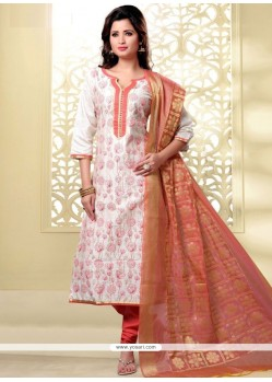 Sunshine Embroidered Work Chanderi Churidar Designer Suit
