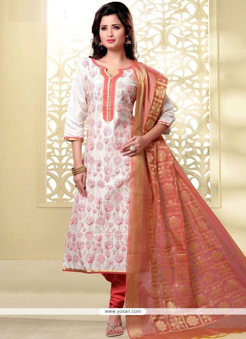 Sunshine Embroidered Work Chanderi Churidar Designer Suit