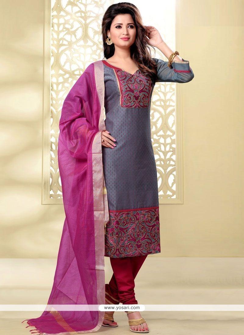 Piquant Chanderi Lace Work Churidar Designer Suit