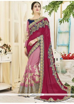 Desirable Net Magenta And Pink Half N Half Designer Saree