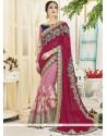 Desirable Net Magenta And Pink Half N Half Designer Saree