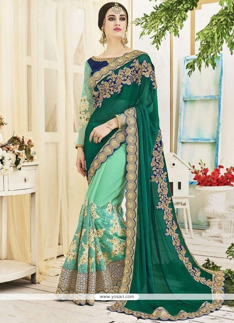 Orphic Green And Sea Green Faux Chiffon Half N Half Saree