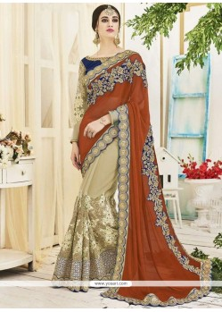 Snazzy Beige And Brown Embroidered Work Designer Half N Half Saree