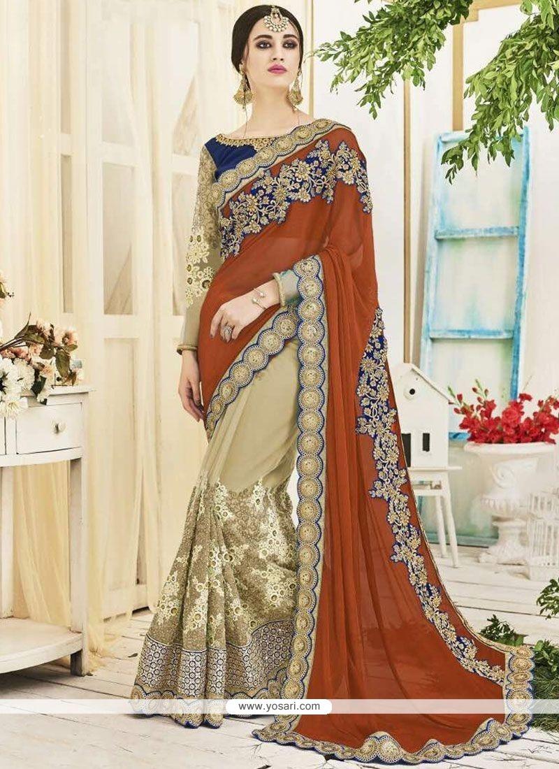 Snazzy Beige And Brown Embroidered Work Designer Half N Half Saree