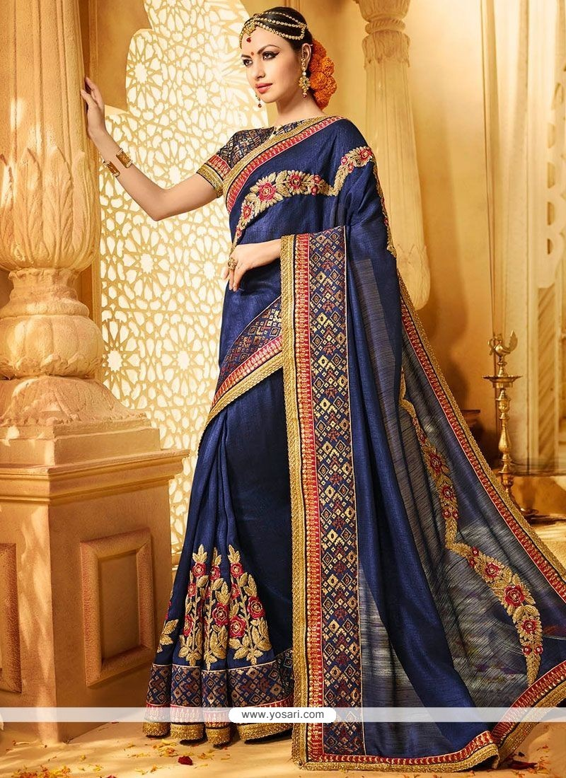 Magnificent Art Silk Navy Blue Patch Border Work Designer Traditional Saree