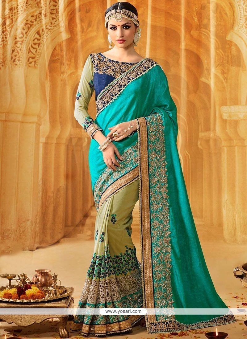 Dashing Net Green And Sea Green Designer Half N Half Saree