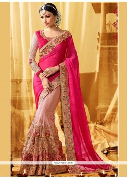 Stunning Hot Pink And Pink Zari Work Half N Half Designer Saree