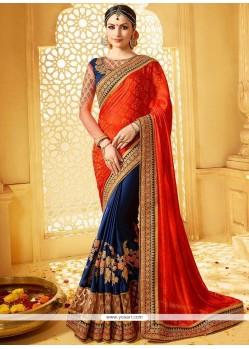 Navy Blue And Orange Embroidered Work Jacquard Designer Half N Half Saree