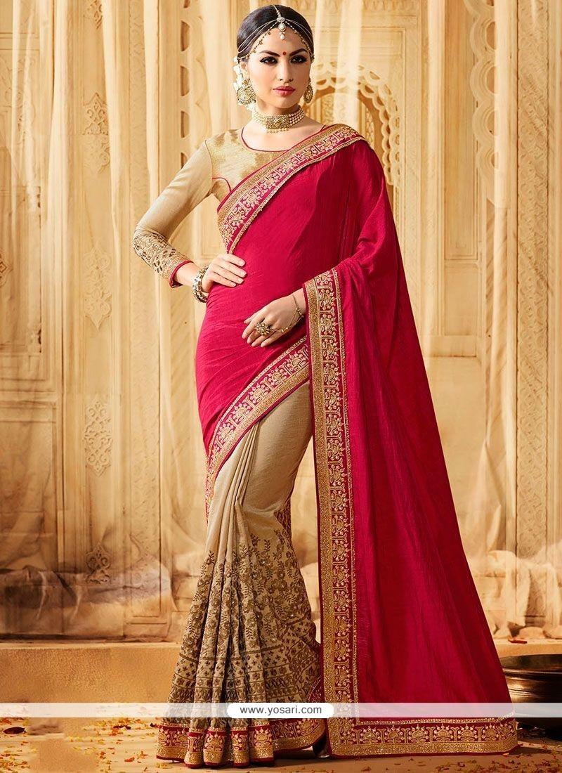 Scintillating Resham Work Crepe Jacquard Designer Half N Half Saree