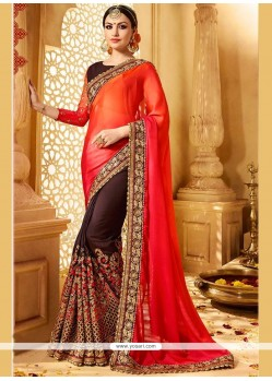 Extraordinary Zari Work Brown And Orange Designer Half N Half Saree
