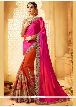 Eye-catchy Crepe Jacquard Hot Pink And Orange Designer Half N Half Saree
