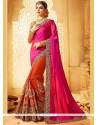 Eye-catchy Crepe Jacquard Hot Pink And Orange Designer Half N Half Saree