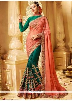 Dignified Jacquard Moti Work Work Half N Half Designer Saree