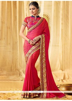 Zesty Embroidered Work Hot Pink Classic Designer Saree