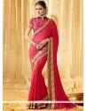 Zesty Embroidered Work Hot Pink Classic Designer Saree