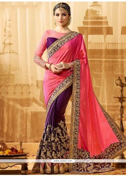 Exquisite Pink And Purple Embroidered Work Jacquard Silk Half N Half Designer Saree