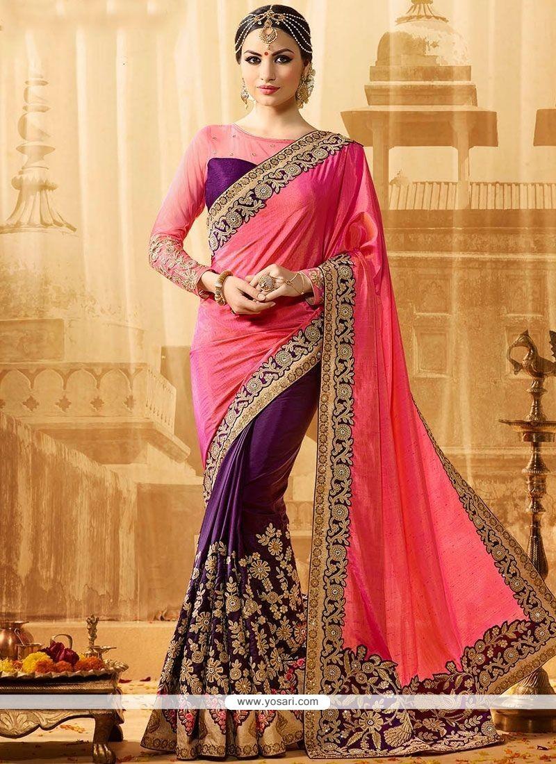 Exquisite Pink And Purple Embroidered Work Jacquard Silk Half N Half Designer Saree