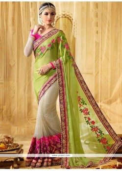 Outstanding Green And Multi Colour Moti Work Work Faux Georgette Designer Half N Half Saree