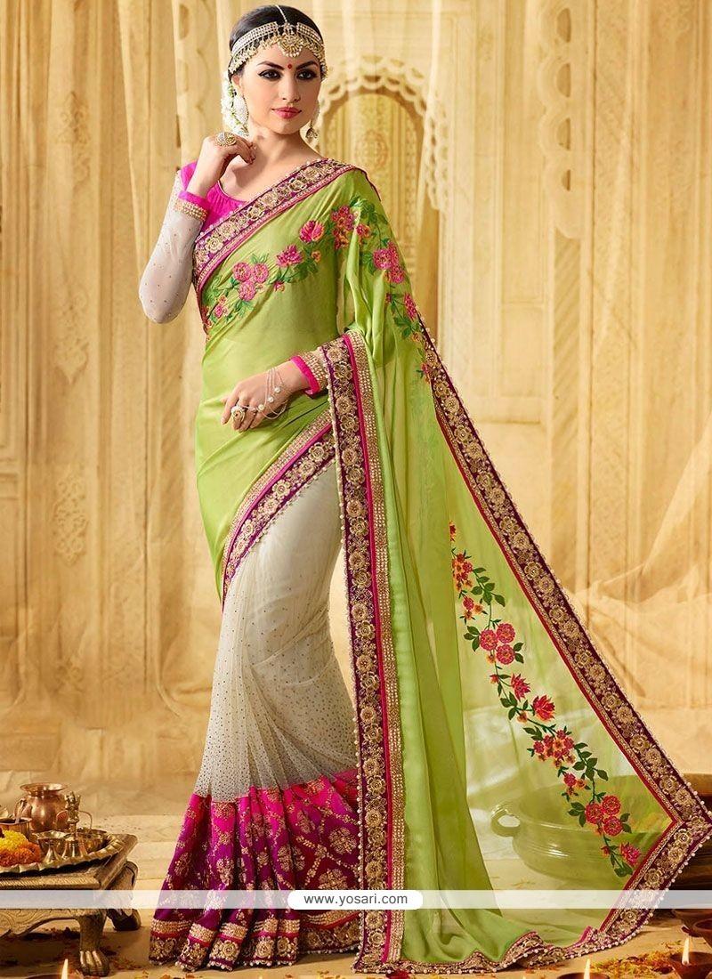 Outstanding Green And Multi Colour Moti Work Work Faux Georgette Designer Half N Half Saree