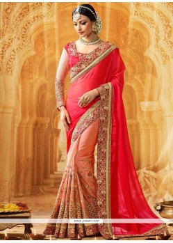 Radiant Peach And Pink Half N Half Saree