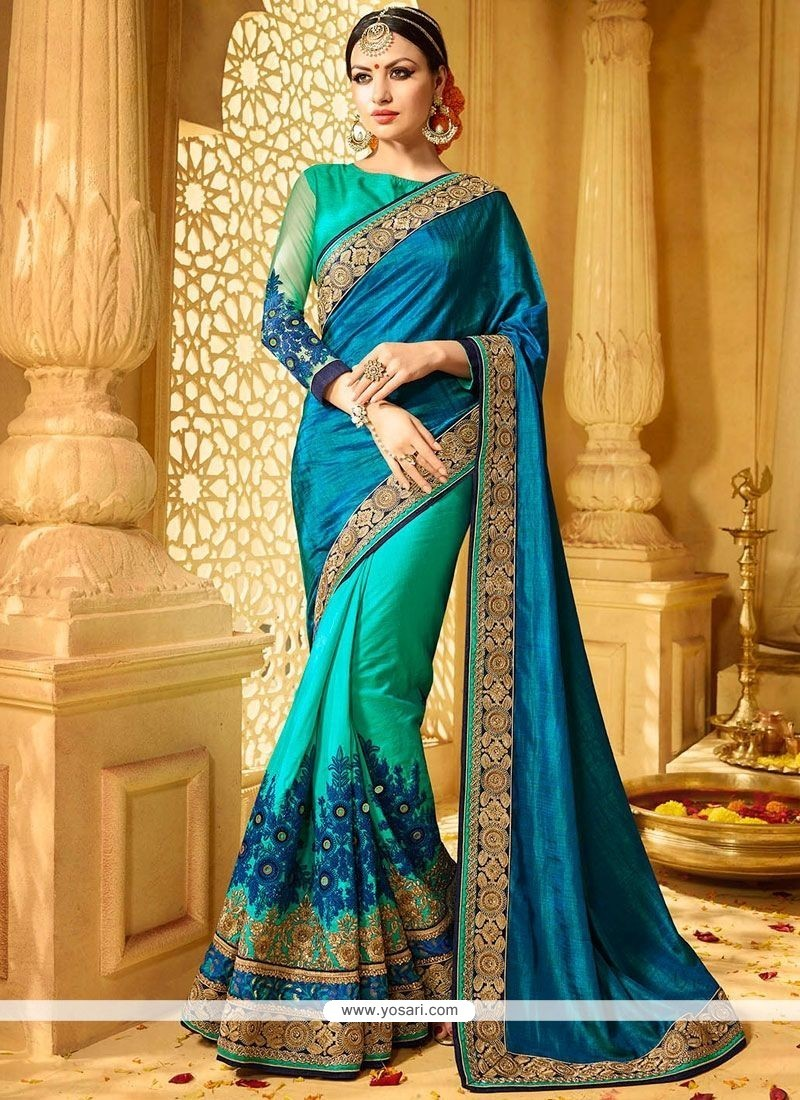 Sea Green And Teal Embroidered Work Faux Georgette Designer Half N Half Saree