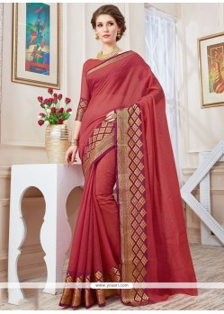 Trendy Pink Cotton Silk Traditional Saree