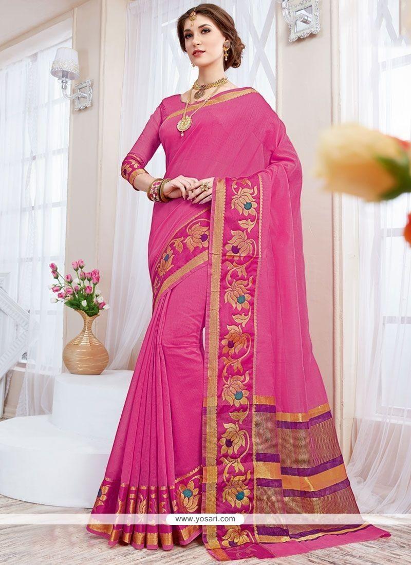 Glitzy Cotton Silk Hot Pink Designer Traditional Saree