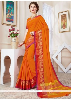 Paramount Woven Work Orange Designer Traditional Saree