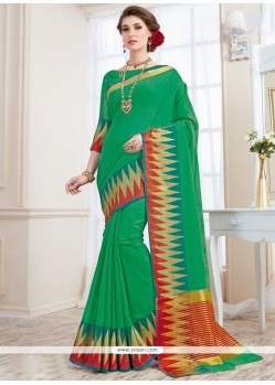 Extraordinary Green Woven Work Traditional Designer Saree