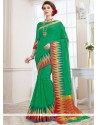 Extraordinary Green Woven Work Traditional Designer Saree