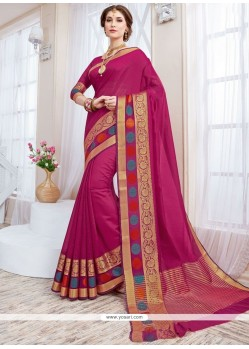 Flawless Magenta Woven Work Cotton Silk Traditional Designer Saree