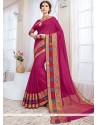 Flawless Magenta Woven Work Cotton Silk Traditional Designer Saree