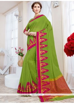 Phenomenal Cotton Silk Green Traditional Saree