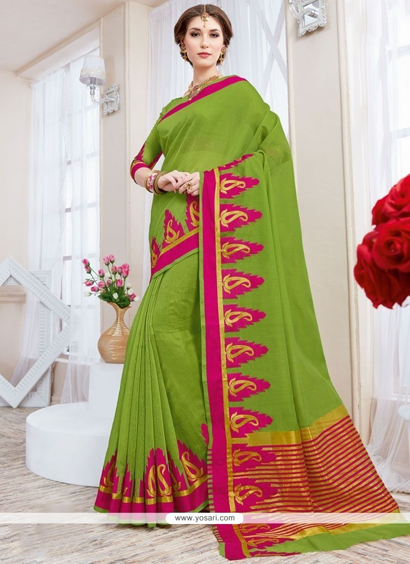 Phenomenal Cotton Silk Green Traditional Saree