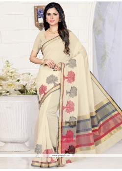 Mystic Cream Cotton Silk Designer Traditional Saree
