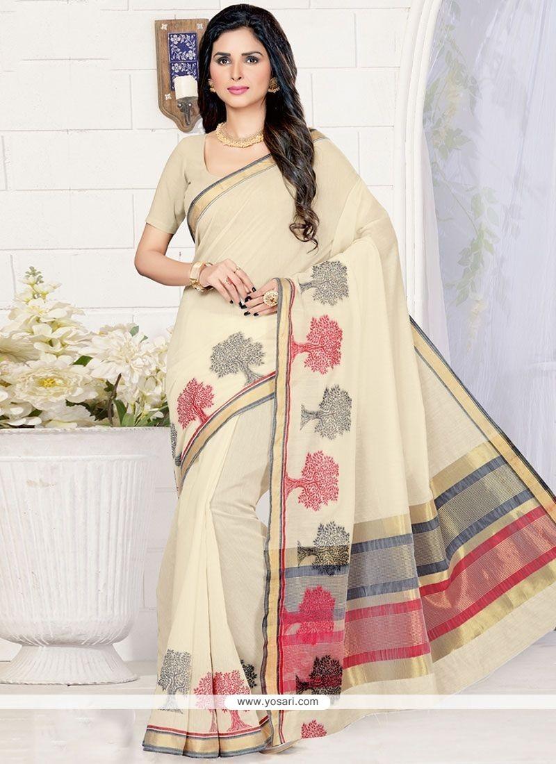 Mystic Cream Cotton Silk Designer Traditional Saree