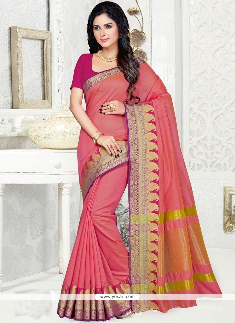 Adorable Woven Work Hot Pink Designer Traditional Saree