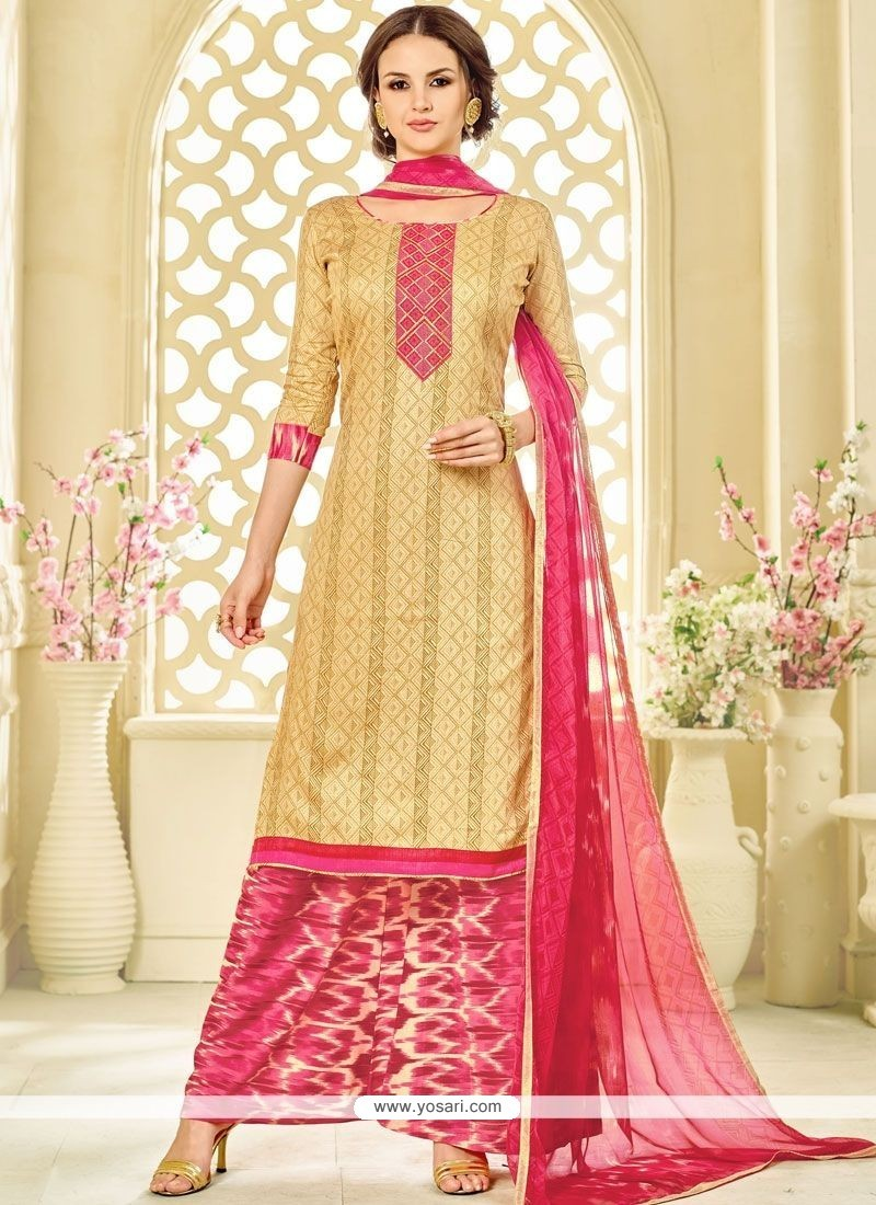 Invigorating Beige And Hot Pink Cotton Palazzo Suit
